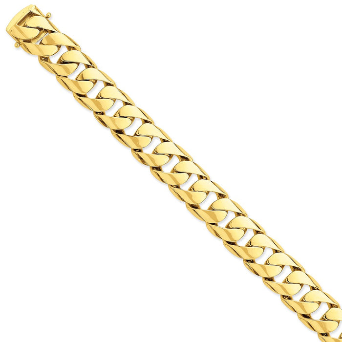 Million Charms 14k Yellow Gold 15.4mm Hand-polished Rounded Curb Link Bracelet, Chain Length: 9 inches