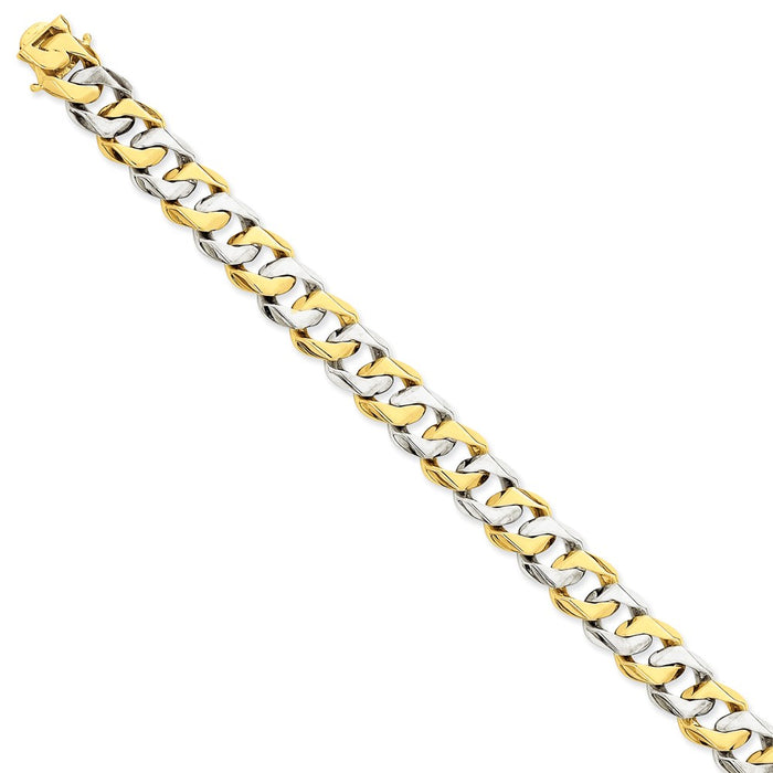 Million Charms 14K Two-tone 11.2mm Hand-polished Fancy Link Bracelet, Chain Length: 8.5 inches