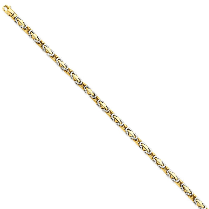 Million Charms 14k Two-tone 4.2mm Hand-polished Fancy Link Bracelet, Chain Length: 8 inches