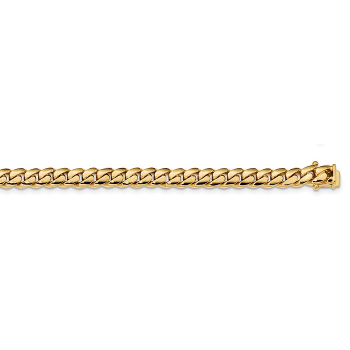Million Charms 14k Yellow Gold 7mm Hand-polished Miami Cuban Chain, Chain Length: 8.25 inches