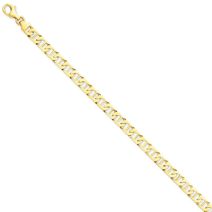 Million Charms 14k Yellow Gold 6.5mm Hand-polished Fancy Anchor Link Bracelet, Chain Length: 7 inches