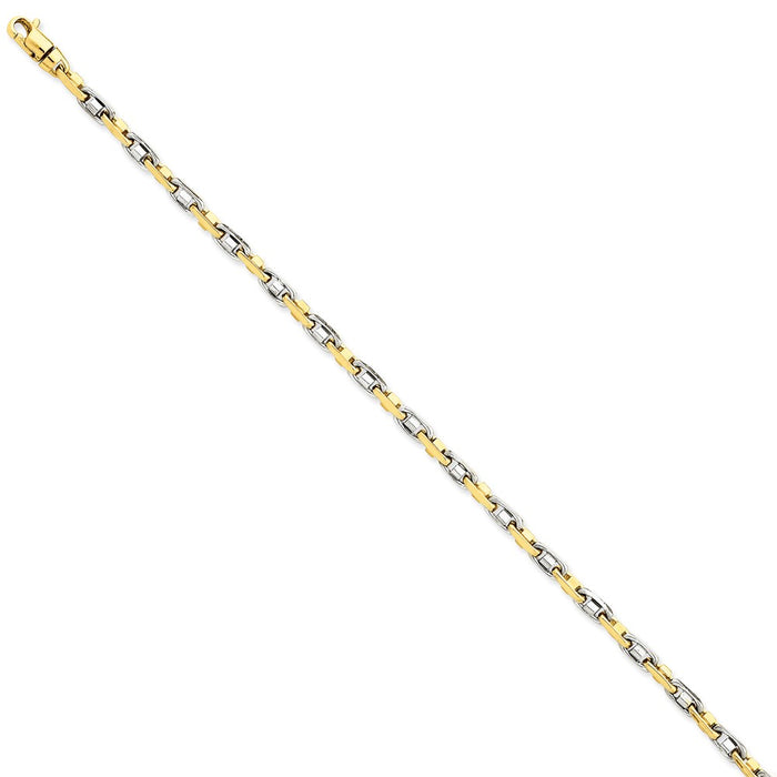 Million Charms 14k Two-tone 3.5mm Fancy Link Chain, Chain Length: 7.25 inches
