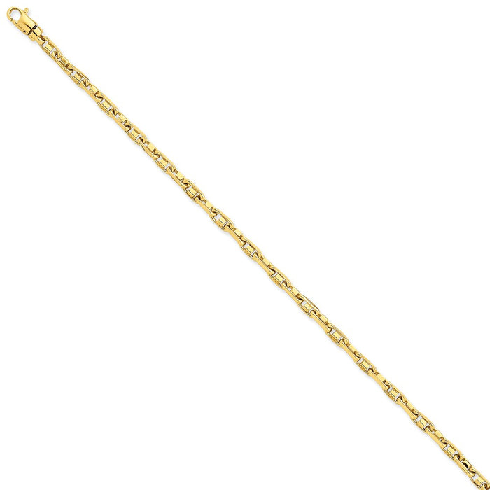 Million Charms 14k Yellow Gold 3.25mm Polished Fancy Link Chain, Chain Length: 7.25 inches