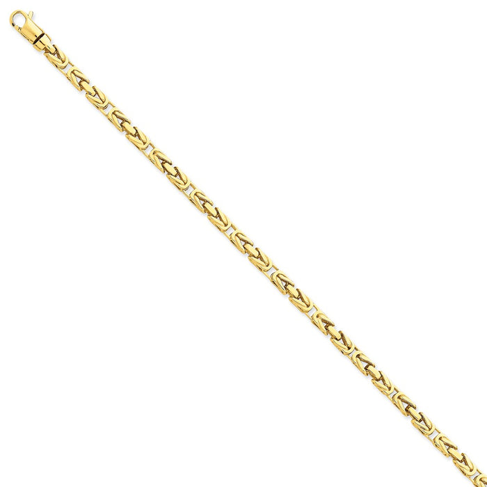 Million Charms 14k Yellow Gold 4.1mm Hand-polished Byzantine Link Bracelet, Chain Length: 8.5 inches