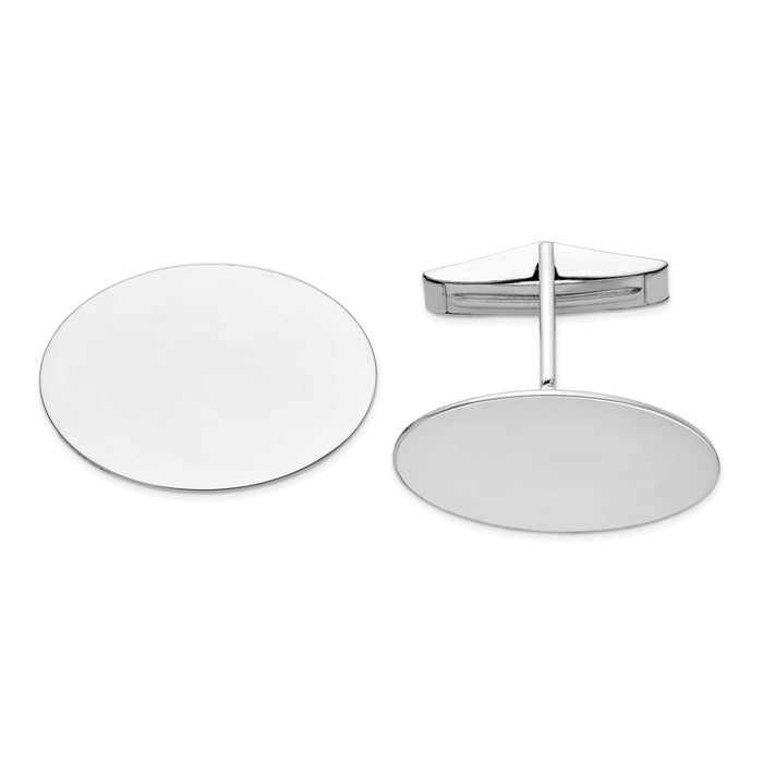 Occasion Gallery, Men's Accessories, 14K White Gold Oval Cuff Links