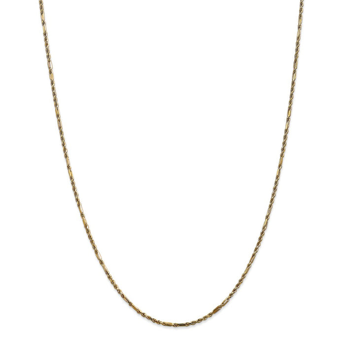 Million Charms 14k Yellow Gold, Necklace Chain, 1.8mm Milano Rope Chain, Chain Length: 22 inches