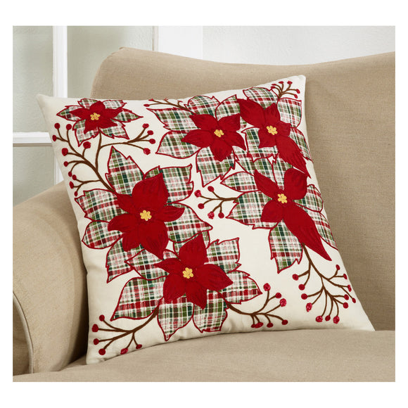 Red Plaid Holiday Christmas Poinsettia Flower Pillows 100% cotton