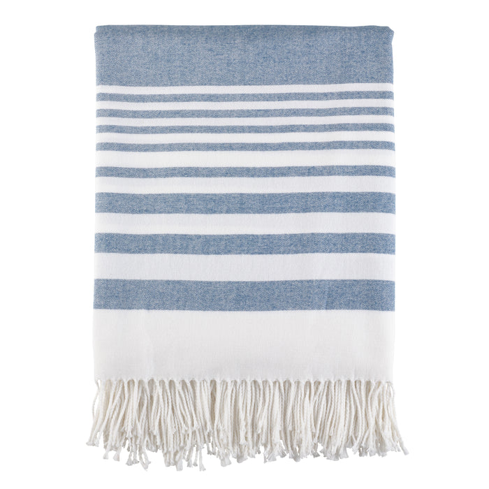 "Occasion Gallery Navy Blue Striped Decorative Cozy Throw Blanket,  50"" X 60"" 60% Acrylic 40% Cotton (1 piece)"