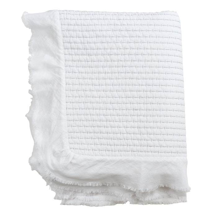 "Occasion Gallery White Quilted Ruffle Trim Decorative Cozy Throw Blanket,  50"" X 60"" 100% Cotton (1 piece)"