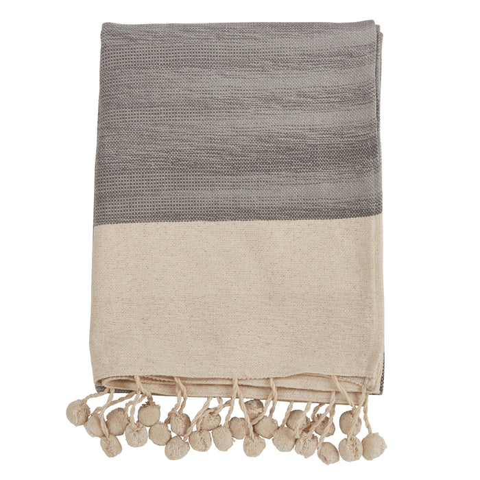 "Occasion Gallery Grey Pom Pom Decorative Cozy Throw Blanket,  50"" X 60"" 100% Cotton (1 piece)"