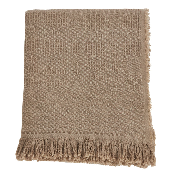 "Occasion Gallery Taupe Cross Hatch Waffle Weave Decorative Cozy Throw Blanket,  50"" X 60"" 100% Cotton (1 piece)"