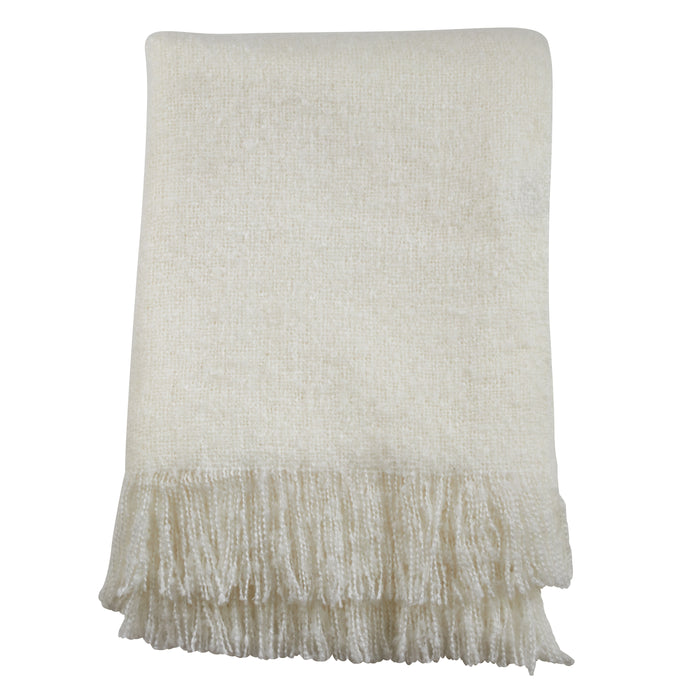 "Occasion Gallery Ivory Faux Mohair Decorative Cozy Throw Blanket,  50"" X 60"" 100% Acrylic (1 piece)"