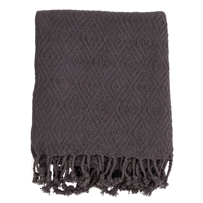 "Occasion Gallery Grey Diamond Weave Tassle Decorative Cozy Throw Blanket,  50"" X 60"" 100% Cotton (1 piece)"