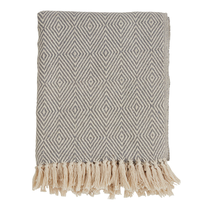 "Occasion Gallery Grey Soft Cotton Diamond Weave Decorative Cozy Throw Blanket,  50"" X 60"" 100% Cotton (1 piece)"