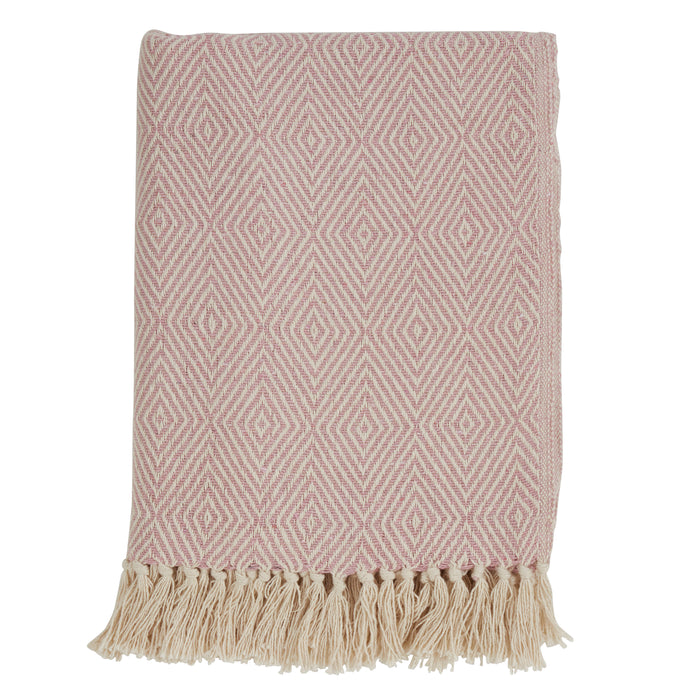"Occasion Gallery Pink Soft Cotton Diamond Weave Decorative Cozy Throw Blanket,  50"" X 60"" 100% Cotton (1 piece)"