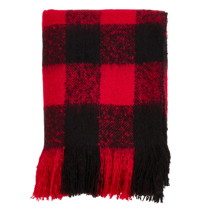 "Occasion Gallery Red Faux Mohair Buffalo Plaid Checkered  Decorative Cozy Throw Blanket,  50"" X 60"" 100% Acrylic (1 piece)"