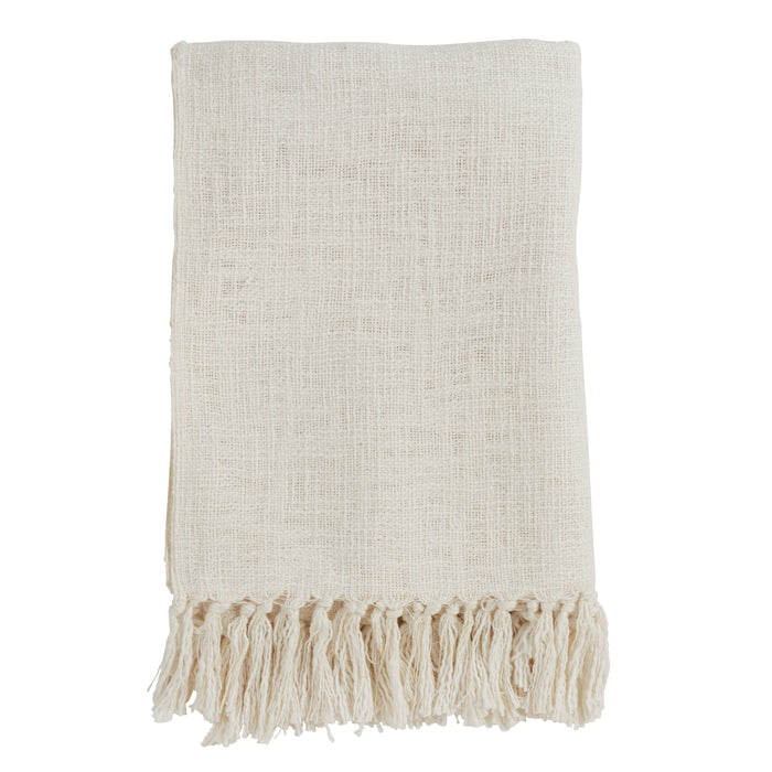 "Occasion Gallery Ivory Solid Tasseled Decorative Cozy Throw Blanket,  50"" X 60"" 100% Cotton (1 piece)"