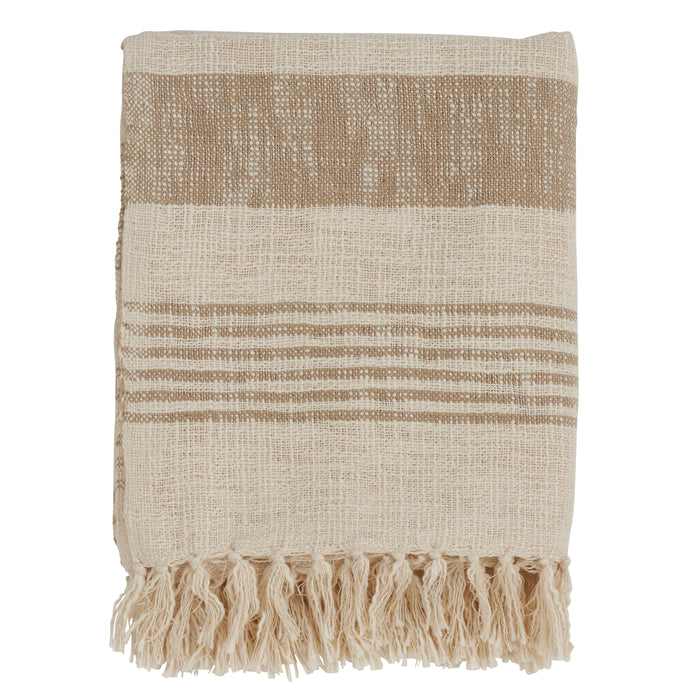 "Occasion Gallery Natural Striped + Tasseled Decorative Cozy Throw Blanket,  50"" X 60"" 100% Cotton (1 piece)"