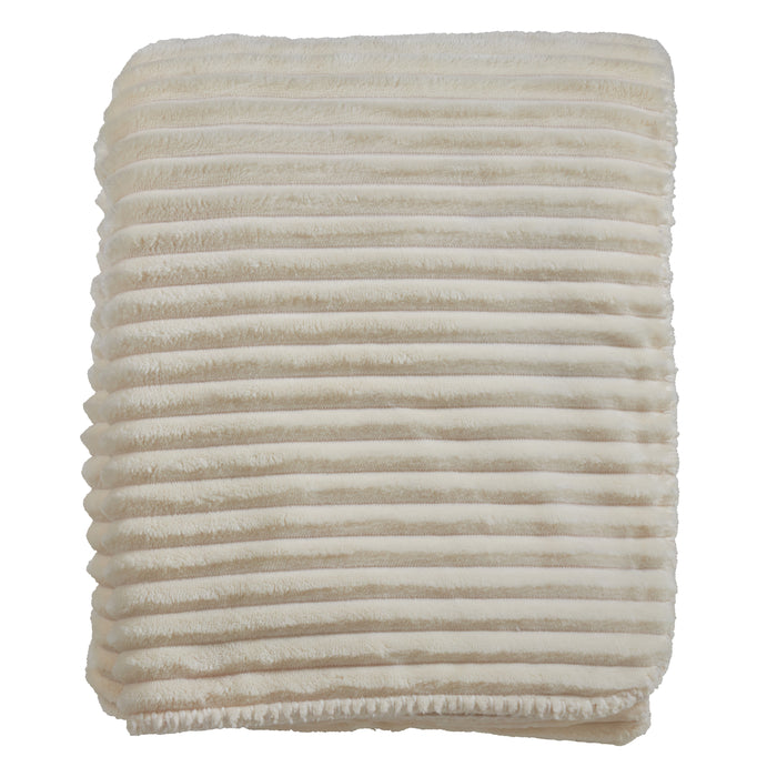 "Occasion Gallery Ivory Velvet Stripe + Sherpa Decorative Cozy Throw Blanket,  50"" X 60"" 100% Polyester (1 piece)"