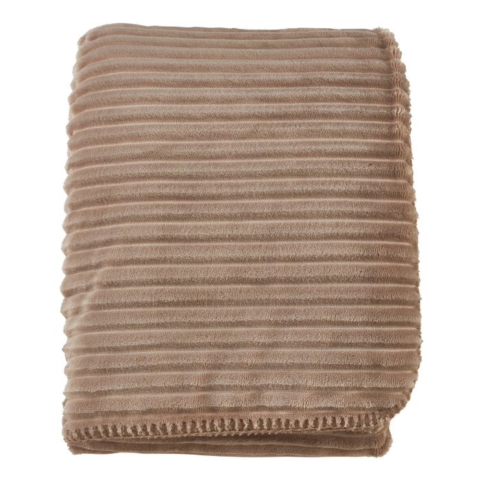 "Occasion Gallery Natural Velvet Stripe + Sherpa Decorative Cozy Throw Blanket,  50"" X 60"" 100% Polyester (1 piece)"