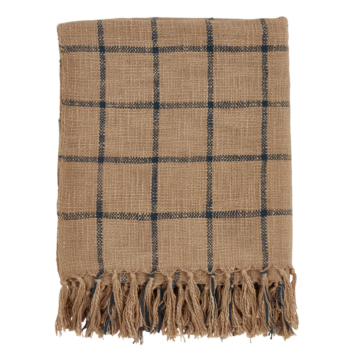 "Occasion Gallery Natural Checkered Decorative Cozy Throw Blanket,  50"" X 60"" 100% Cotton (1 piece)"