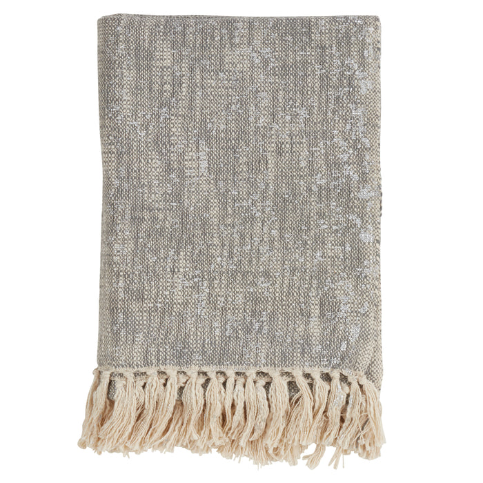 "Occasion Gallery Silver Foil Print Tasseled Decorative Cozy Throw Blanket,  50"" X 60"" 100% Cotton (1 piece)"