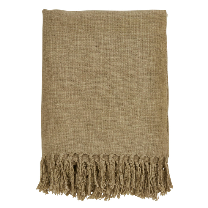"Occasion Gallery Natural Tasseled Decorative Cozy Throw Blanket,  50"" X 60"" 100% Cotton (1 piece)"