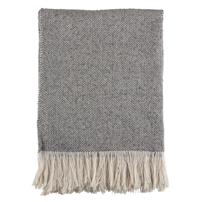"Occasion Gallery Grey Tasseled Decorative Cozy Throw Blanket,  50"" X 60"" 100% Polyester (1 piece)"
