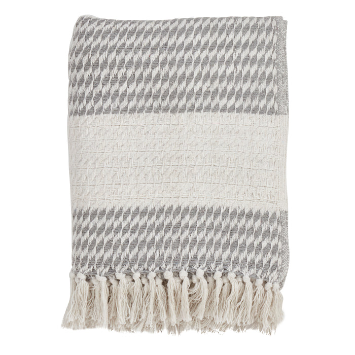 "Occasion Gallery Grey Diamond Weave Decorative Cozy Throw Blanket,  50"" X 60"" 100% Cotton (1 piece)"