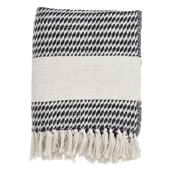 Occasion Gallery Navy Blue Diamond Weave Decorative Cozy Throw Blanket,  50