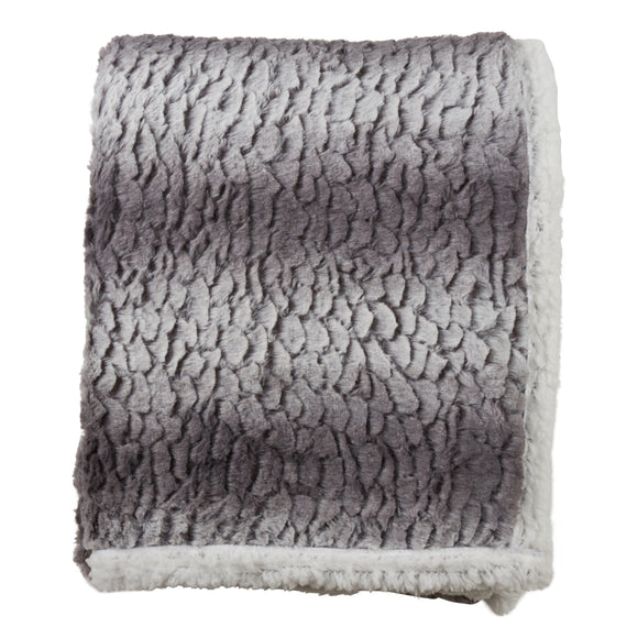 Occasion Gallery Grey Faux Fur + Sherpa Decorative Cozy Throw Blanket,  50