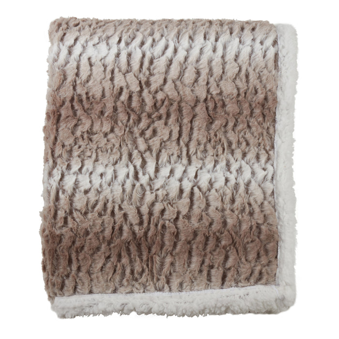 "Occasion Gallery Natural Faux Fur + Sherpa Decorative Cozy Throw Blanket,  50"" X 60"" 100% Polyester (1 piece)"