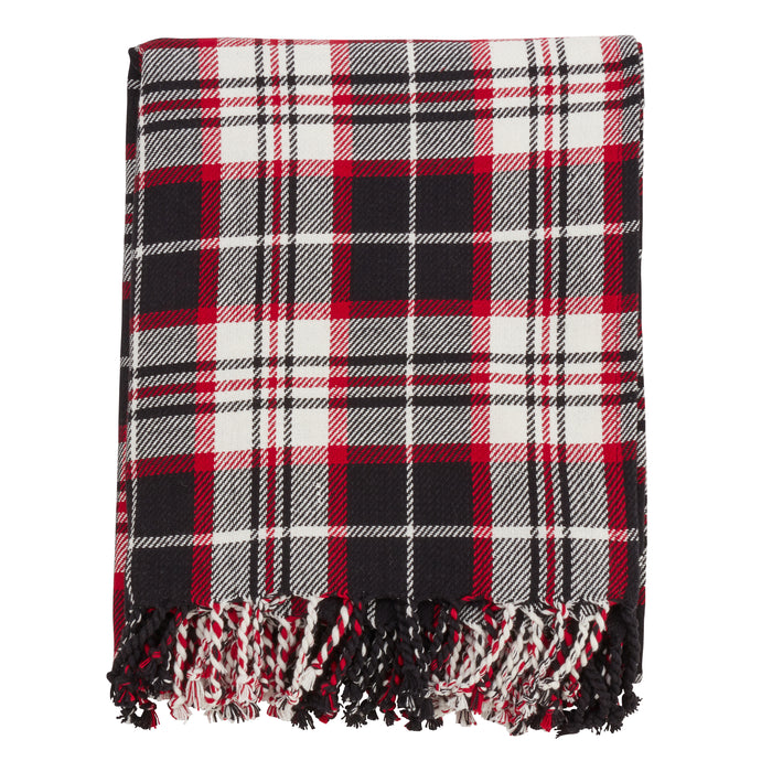 "Occasion Gallery Black Plaid Checkered  Decorative Cozy Throw Blanket,  50"" X 60"" 100% Cotton (1 piece)"