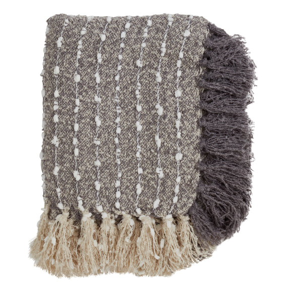 Occasion Gallery Grey Petite Pom Pom Decorative Cozy Throw Blanket,  50