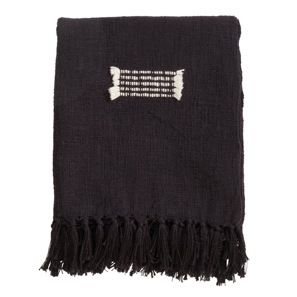 Occasion Gallery Black Fringe Line Decorative Cozy Throw Blanket,  50