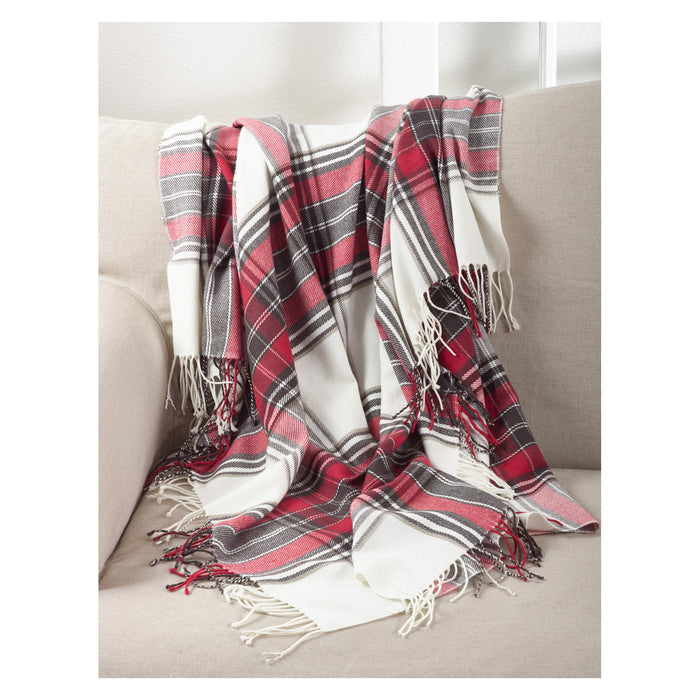 "Occasion Gallery Multi Plaid Checkered  Tasseled Decorative Cozy Throw Blanket,  50"" X 60"" 100% Acrylic (1 piece)"