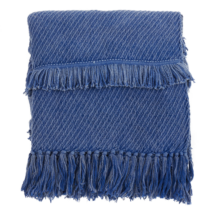 "Occasion Gallery Blue Fringe Line Decorative Cozy Throw Blanket,  50"" X 60"" 100% Cotton (1 piece)"