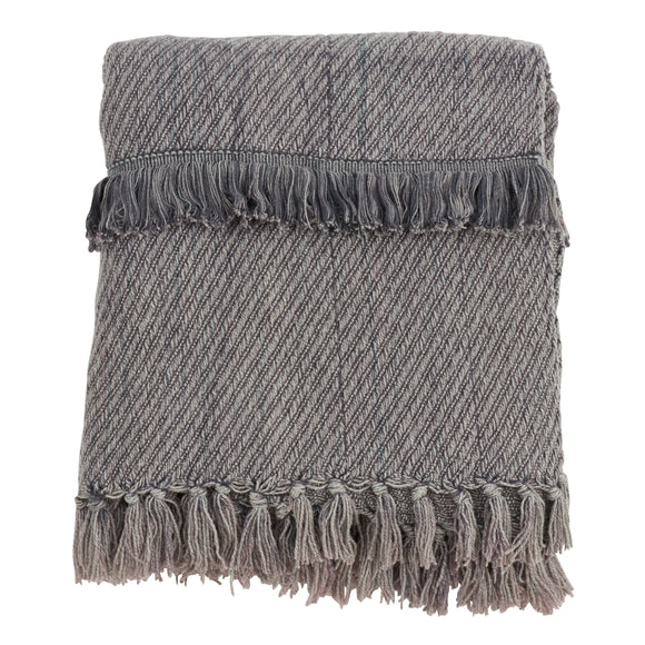 Occasion Gallery Charcoal Fringe Line Decorative Cozy Throw Blanket,  50