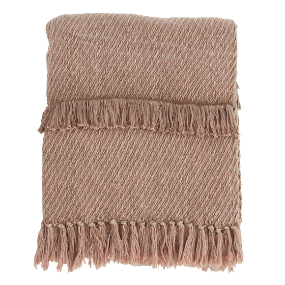 Occasion Gallery Taupe Fringe Line Decorative Cozy Throw Blanket,  50