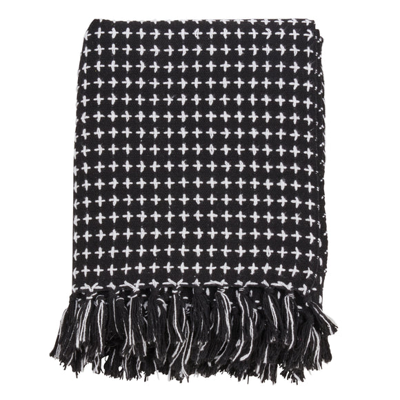 Occasion Gallery Black Cross Thread Decorative Cozy Throw Blanket,  50