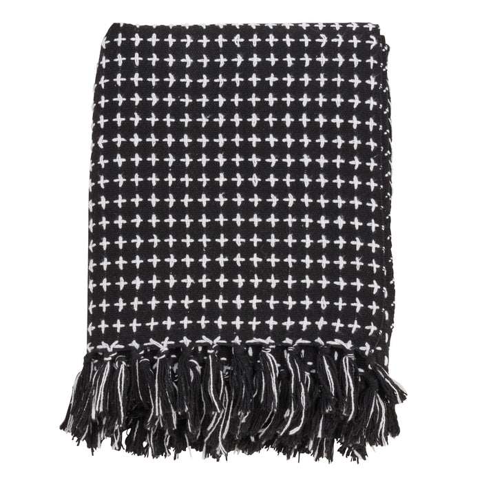 "Occasion Gallery Black Cross Thread Decorative Cozy Throw Blanket,  50"" X 60"" 100% Cotton (1 piece)"