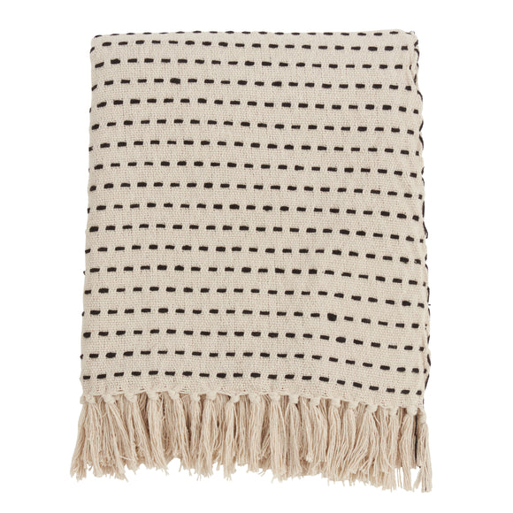 Occasion Gallery Ivory Stitch Line Decorative Cozy Throw Blanket,  50