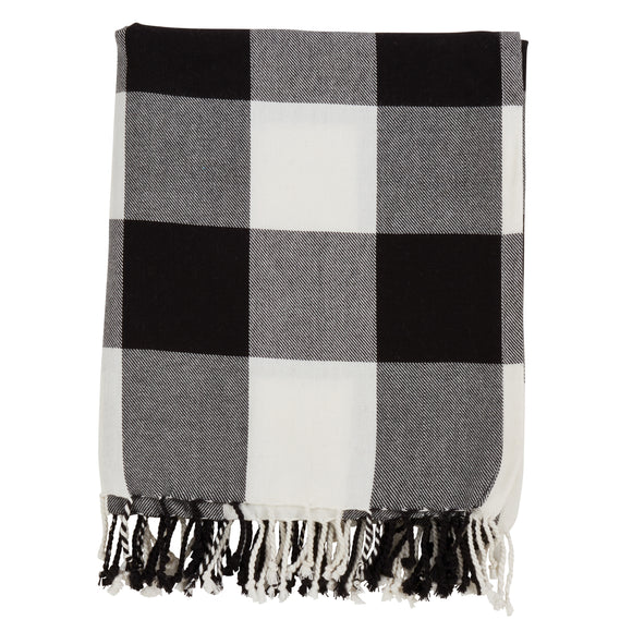 Occasion Gallery Black Buffalo Plaid Checkered  Decorative Cozy Throw Blanket,  50