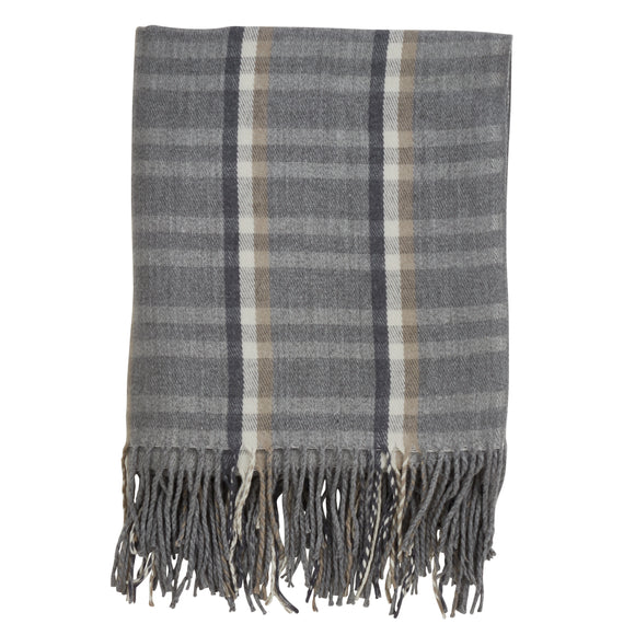 Occasion Gallery Grey Plaid Checkered  Tassle Decorative Cozy Throw Blanket,  50