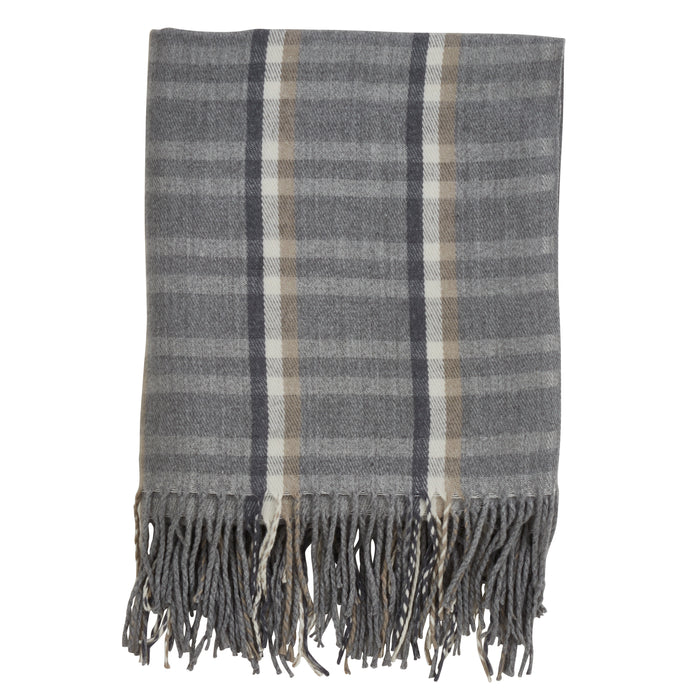"Occasion Gallery Grey Plaid Checkered  Tassle Decorative Cozy Throw Blanket,  50"" X 60"" 100% Acrylic (1 piece)"