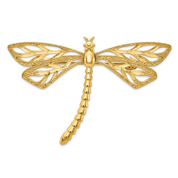 14k Yellow Gold Diamond-cut Polished & Satin Dragonfly Pin