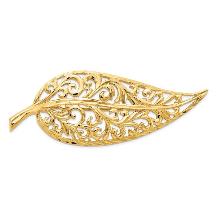 14k Yellow Gold Diamond-cut Polished Filigree Leaf Pin