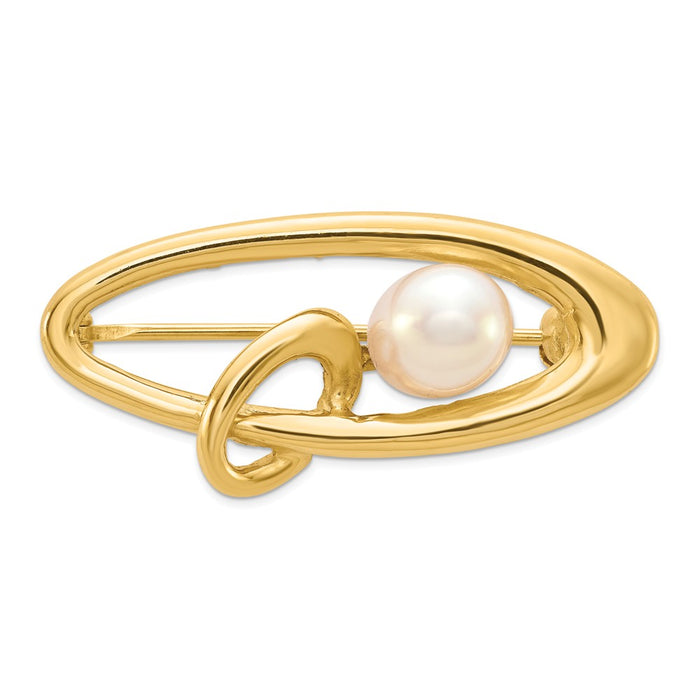 14k Yellow Gold 5-6mm White Rice Freshwater Cultured Pearl Pin