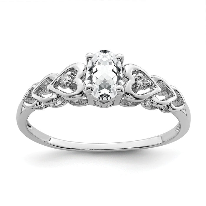 925 Sterling Silver Rhodium-plated White Topaz & Diamond Ring, Size: 8