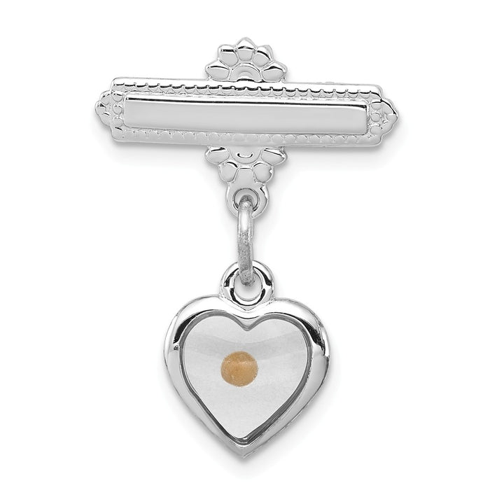 925 Sterling Silver Rhodium-plated Polished Heart with Epoxy Mustard Seed Pin